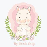 nettes Babyschwein mit gezeichneter Art der Blumengrenzkarikatur Hand Auch im corel abgehobenen Betrag