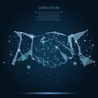 Abstrakt linje och punkt blå överenskommelse handslag affärsidé på mörkblå natthimmel med stjärnor. Polygonal punktlinje geometrisk design. Händer kedjelänk internet hyperlänk anslutning vektor illustration