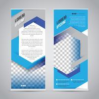 Blå rulla upp bannerstativ designmall vektor