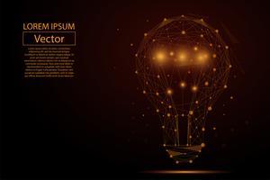 Abstrakt bild av en lampa lampa som består av punkter, linjer och former. Vektor affärs illustration. Space poly, stjärnor och universum