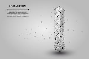 Abstraktes Bild eines Ausrufezeichens, das aus Punkten, Linien und Formen besteht. Vektorgeschäftsabbildung. Raum Poly, Sterne und Universum