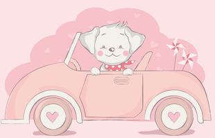 niedlicher kleiner Hund mit Auto-Cartoon vektor