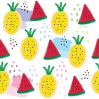 Gullig sommarananas och vattenmelon sömlös mönster vektor.
