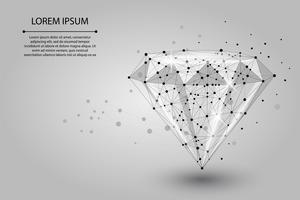 Abstraktes Bild eines Diamanten, der aus Punkten, Linien und Formen besteht. Vektorgeschäftsabbildung. Raum Poly, Sterne und Universum vektor