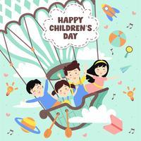 Lycklig barnedag Illustration. Fantasivärld med barn på vintage varmluftsballong, raket, regnbåge, måne, planeter, idé och ballonger som flyter över moln - Vektorillustration vektor