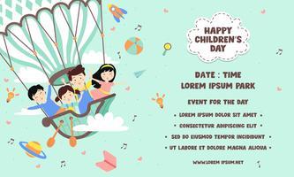 Lycklig barn dag affischmall. Tryckbar. Fantasivärld med barn på vintage varmluftsballong, raket, regnbåge, måne, planeter, idé och ballonger som flyter över moln - Vektorillustration vektor