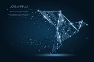 Abstraktes Bild eines Origamipapiervogels, der aus Punkten, Linien und Formen besteht. Vektorgeschäftsabbildung. Raum Poly, Sterne und Universum