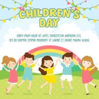 Der glückliche Tag der Kinder Illustrations-Hintergrund. Kinder, die im Park spielen - Vector Illustration