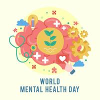 Världs mental hälsodagaffisch. Mental tillväxt. Rensa dina tankar. Positivt tänkande. Vektor - Illustration