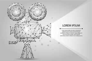 Abstrakter polygonaler Retro- Kinoprojektor. Niedrige Polywireframe-Vektorillustration. Filmzeit. Kino, Film, Festivalplakat
