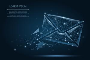 Meddelande. Polygonalt wireframe mesh kuvert på mörkblå natthimmel med prickar och stjärnor. Låg poly Mail, Letter, email eller annan koncept vektor illustration