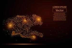 Abstraktes Bild des Gepards gemacht von den Punkten, von den Punkten und von den Breilinien auf weißem Hintergrund mit einer Aufschrift. Geschäftsnettogeschwindigkeitsvektorillustration. Polygonales Geometriedreieck. Low-Poly-Hintergrund.