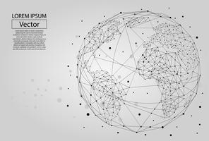 Abstrakt bild av en planet Jorden bestående av punkter, linjer och former. Global nätverksanslutning. Världskarta punkt och linjekomposition koncept för global verksamhet. Vektor illustration