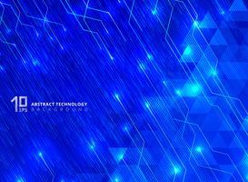 Abstrakte Technologie zeichnet mit dem Beleuchtungsglühen, das auf blauem Steigungshintergrund des Dreieckmusters futuristisch ist.
