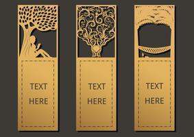 Bokmärken träd set vektor