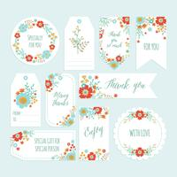 Set med romantisk blomma Tack Tag Tag med handdragen vårblomma. Presentkort, Etiketter med blommalmall. Tryckbar. Vektor - Illustration