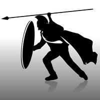 Schattenbild spartanischer Mann verteidigen