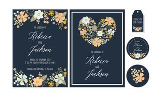 Navy Floral, Flower Bröllop Inbjudan, Tack kort, Etiketter, Coaster Utskriftsbara mallar med blommor, blomma Collection vektor