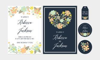 Vit Navy Floral, Flower Bröllop Inbjudan, Tack kort, Etiketter, Coaster Utskriftsbara mallar med blommor, blomma Collection vektor