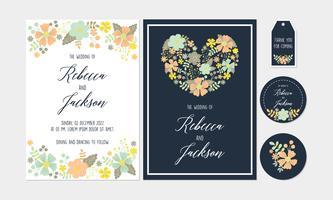 Weiß Marine mit Blumen, Blumen-Hochzeits-Einladung, danke zu kardieren, Umbauten, Untersetzer-bedruckbare Vorlagen mit Blumen, Blumen-Sammlung vektor