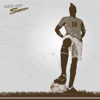 Vintage fotbollsspelare sparka av