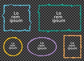Satz bunte Rahmen des Schmutzes auf transparentem Hintergrund.