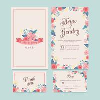 Handdragen vårblomma Bröllopsinbjudan, Blomband, Tack kort, Mönster, RSVP. Utskrivbara mallar med blommor, blomstersamling. Vektor - Illustration