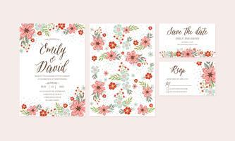 Handdragen vårblommabröllopinbjudan, tack kort, mönster, RSVP, räddning datera. Utskrivbara mallar med blommor, blomstersamling. Vektor - Illustration