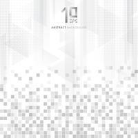 Abstrakte geometrische Datenquadratmusterdreiecke der Technologie überlagern graue Farbe der Steigung auf weißem Hintergrund.