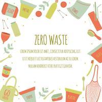 Hand Drawn Zero Avfall Element Icon Set Bakgrund. Eco Green. Mindre plast. Eco Friendly. Eco Green. Eco Life. Jordens dag. Infographic. Vektor - Illustration