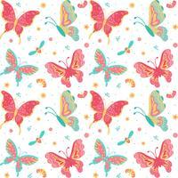 Übergeben Sie gezogenes nahtloses Muster der Schmetterlinge, des Insekts, der Blumen und der Anlage, das auf weißem Hintergrund lokalisiert wird - Vector Illustration
