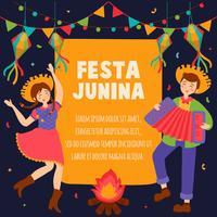 Handgezeichnete Festa Junina Brasilien Juni Festival. Dorffest in Lateinamerika. Mädchen-Jungen-Gitarren-Akkordeon-Kaktus-Sommer-Sonnenblumen-Lagerfeuer. Hintergrund - Vektor-Illustration vektor