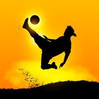 Fußballspieler über Kopf treten