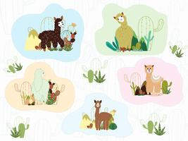 Lama und Kaktus Clipart Bundle, kein Drama Lamas Graphics Set.