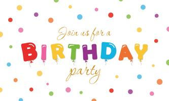 Födelsedag festlig bakgrund. Party invitation banner med ballong färgade bokstäver och konfetti.