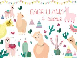 Llama och Cactus Clipart Bundle, No Drama Llamas Graphics Set.