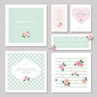 Hochzeitskartenvorlagen festgelegt. Mit Rosen dekoriert. Einladung, speichern Sie das Datum. Pastellrosa und Grün. Romantische Sammlung, inklusive Rahmen, Muster, schmales handgeschriebenes Alphabet.