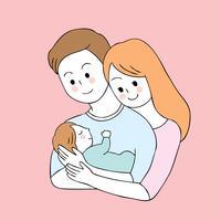 Tecknad söta föräldrar och baby vektor.
