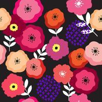 Färgrik blommig och mörk bakgrund sömlös mönster vektor. vektor