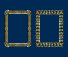Set av lyx Dekorativa vintageramar och gränssett, Guld fotoram Vector design dekorationsmönster stil.