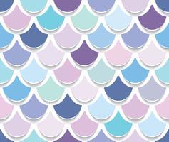 Nahtloses Muster des Meerjungfrauschwanzes. Papier herausgeschnittener Fischhauthintergrund. Trendy Pastellrosa und lila Farben.