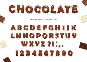Choklad typsnitt design. Söta glänsande ABC bokstäver och siffror.