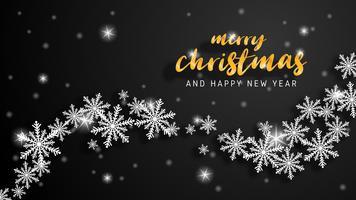 Grußkarte der frohen Weihnachten und des guten Rutsch ins Neue Jahr im Papierschnittstil. Vektor-Illustration Weihnachtsfeier auf schwarzem Hintergrund. Design für Banner, Flyer, Poster, Wallpaper, Vorlage.