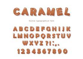 Karamell typsnitt design. Söta glänsande ABC bokstäver och siffror.