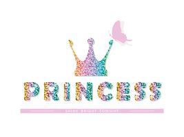 Prinsessa. För födelsedag, baby shower, kläder och affischer design. Vektor