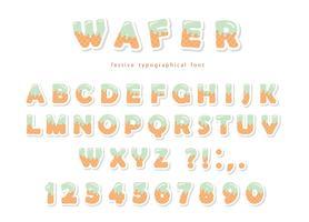 Wafer-Schriftart. Nette süße Buchstaben und Zahlen können für Geburtstagskarte, Babyparty, Valentinstag, Süßigkeitengeschäft, Mädchenzeitschrift, Collagen benutzt werden. Isoliert.