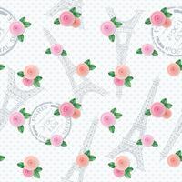 Romantiskt sömlöst mönster med Eiffeltornet, frimärken och rosor. För tryck och webb.