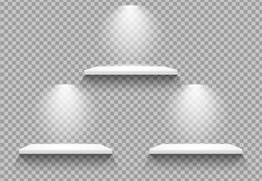 Leere Regale Es gibt ein Licht, das nach unten scheint, um das Produkt hervorzuheben. vektor