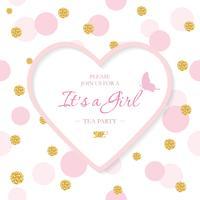 Mädchen Baby Shower Einladungsvorlage. Eingeschlossener herzförmiger Laserausschnittrahmen auf nahtlosem Tupfenmuster mit Glitzerkonfetti. Kann für Valentinstag oder Hochzeitsentwurf verwendet werden.