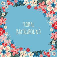Frühlingsblume / Blumengrenze / Kranz-Hintergrund Druckschablone - Vektor-Illustration - Vektor